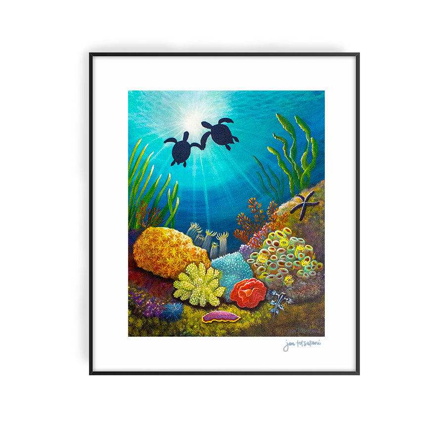 two turtles in love acrylic painting print by Jan Tetsutani
