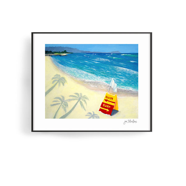 white plains beach art print by hawaii artist jan tetsutani barbers point beach