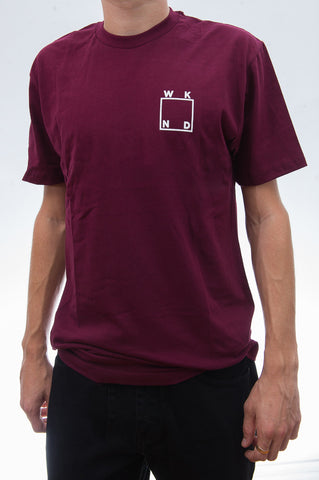 Logo Tee Burgundy with White