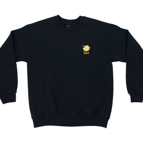 Flower Embroidered Crew Neck - Black