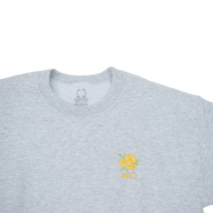 Flower Embroidered Crew Neck - Heather Grey