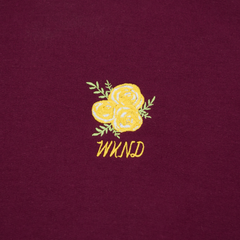 Flower Embroidered Crew Neck - Maroon