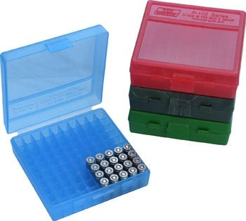 MTM 100 RD HINGED TOP AMMO BOX 9MM RED P-100-9-29