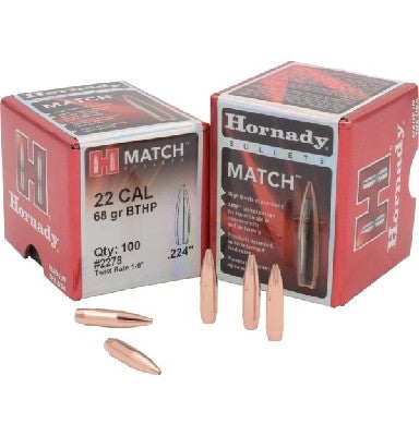 Hornady .224 68gn HOLLOW POINT Boat Tail Match 100 Pack