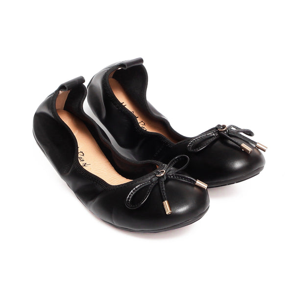 FAITH Black Full Leather Round Toe Ballet Flats