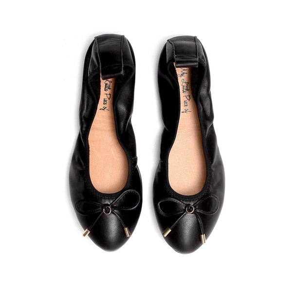 LOVE Black Leather Almond Toe Ballet Flats