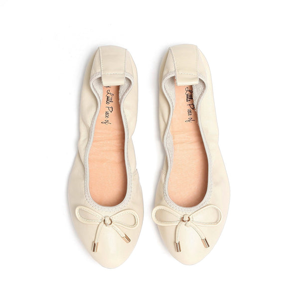 LOVE Beige Leather Almond Toe Ballet Flats