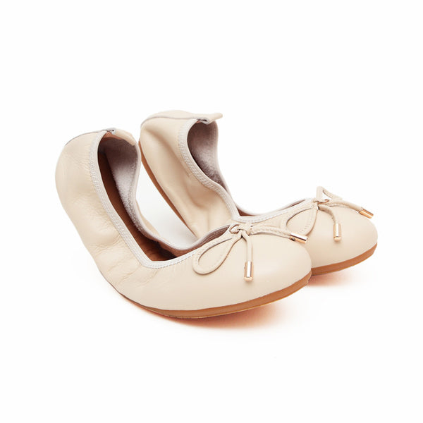 FAITH Beige Full Leather Round Toe Ballet Flats