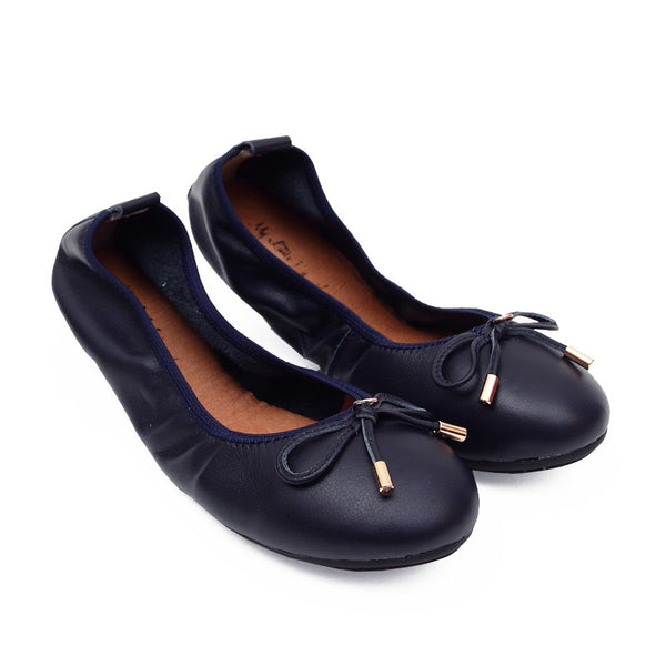 FAITH Navy Full Leather Round Toe Ballet Flats