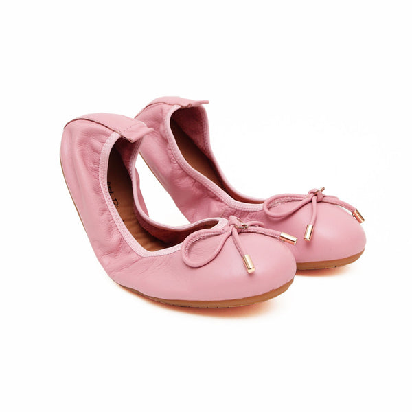 FAITH Pink Full Leather Round Toe Ballet Flats