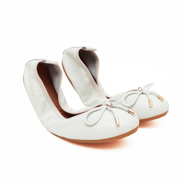FAITH White Leather Round Toe Ballet Flats