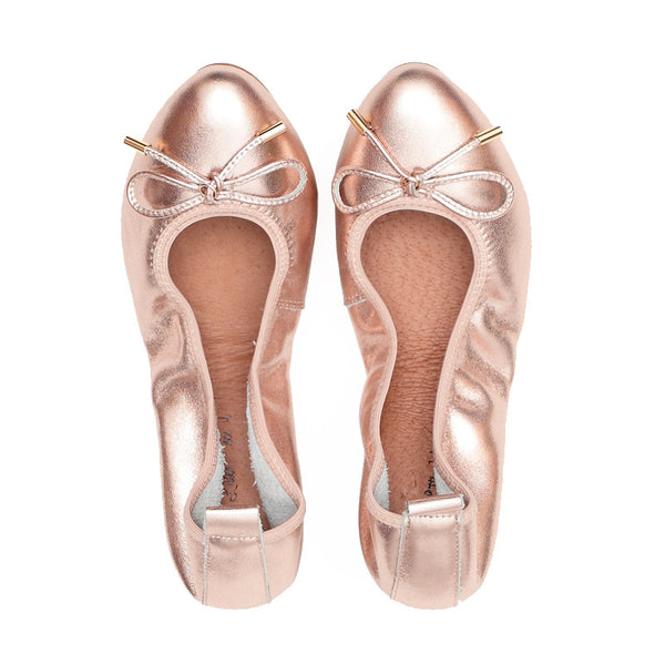 LOVE Champagne Leather Almond Toe Ballet Flats