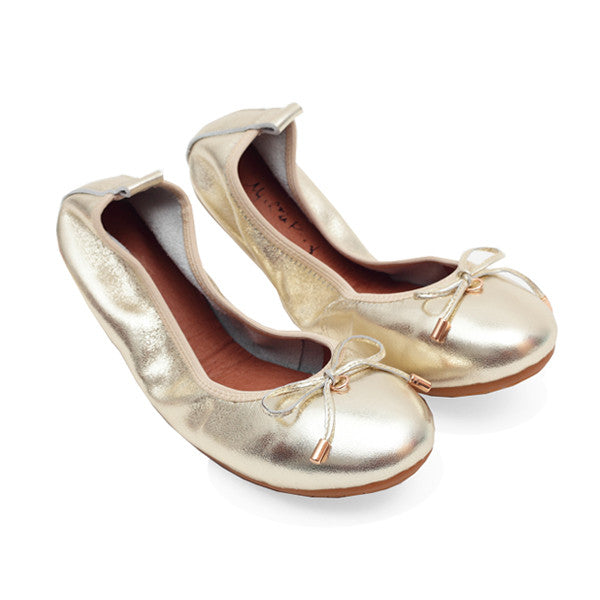 FAITH Light Gold Full Leather Round Toe Ballet Flats