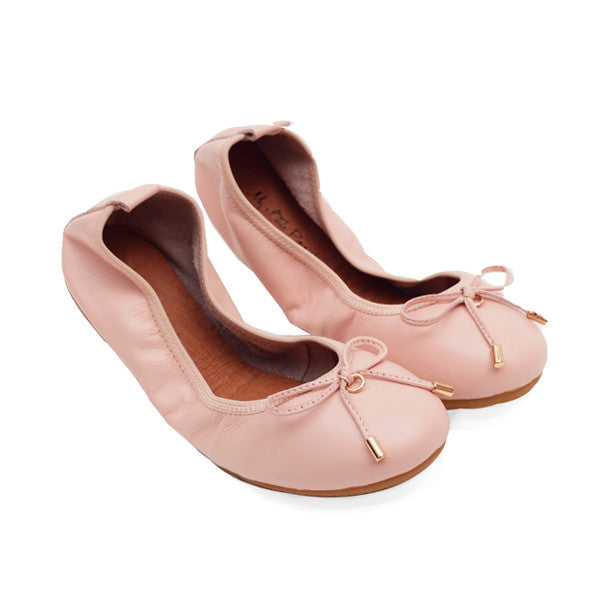 FAITH Nude Full Leather Round Toe Ballet Flats