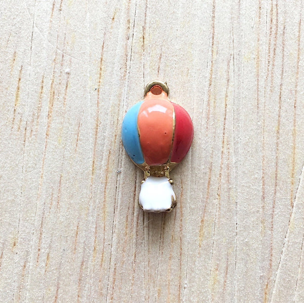 Blue and Orange Air Balloon Jewelry Charms - Wanderlust