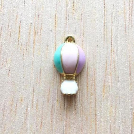 Pink and Turquoise Air Balloon Jewelry Charms - Wanderlust