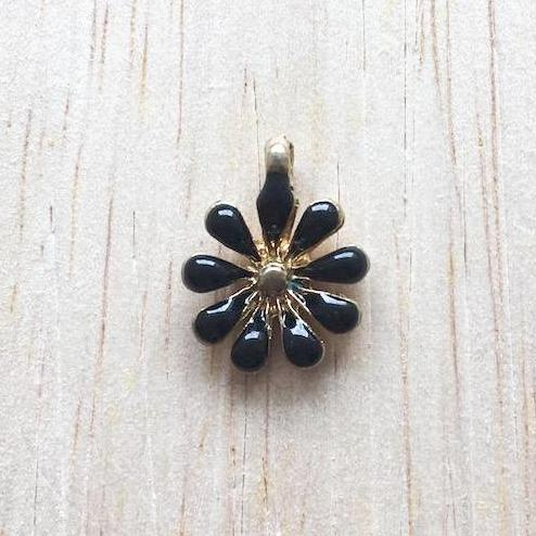 Black and Gold Sunflower Charm for Bracelet and Jewelry