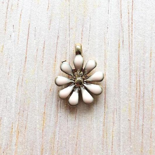 Peach and Gold Sunflower Charm for Bracelet and Jewelry