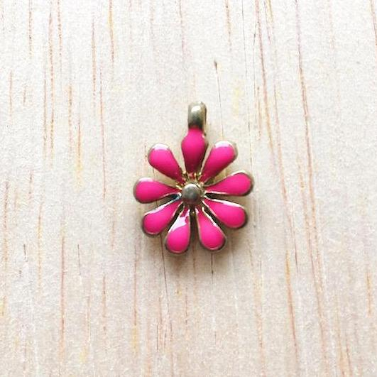 Fuchsia and Gold Sunflower Charm for Bracelet and Jewelry