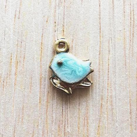 Blue and Gold Dove Charm for Bracelet and Jewelry - Lovey Dovey