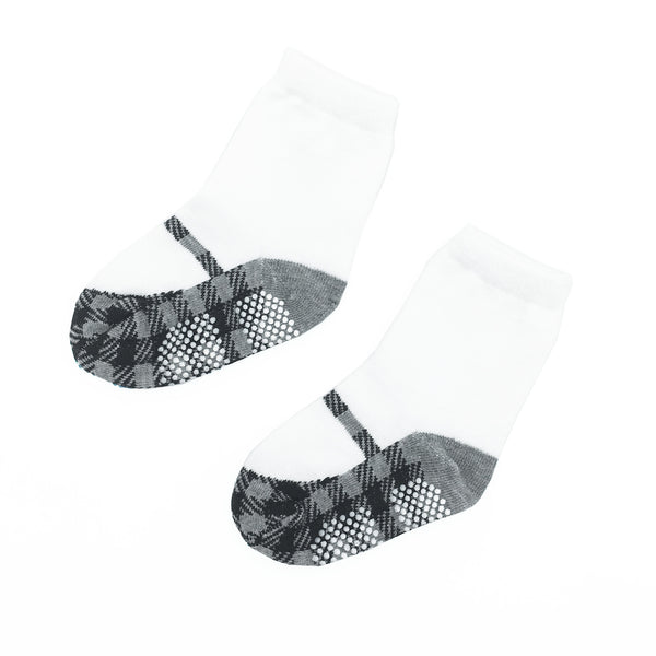 Girls' Walker Socks - Mary Janes Houndstooth Black