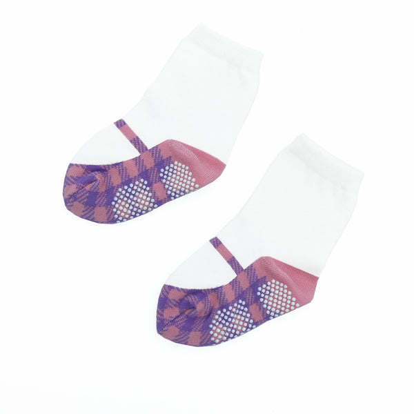 Girls' Walker Socks - Mary Janes Houndstooth Purple&Pink