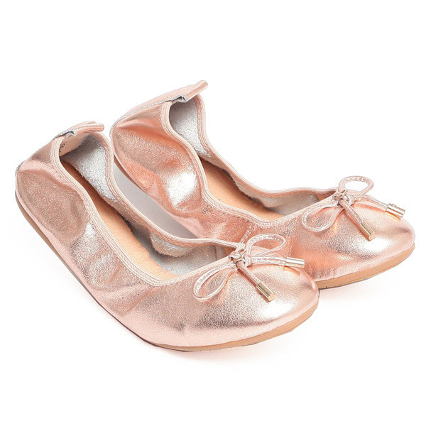 FAITH Rose Gold Leather Round Toe Ballet Flats