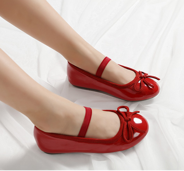 Girls DREAM Leather Lined Mary Jane Flats - Red