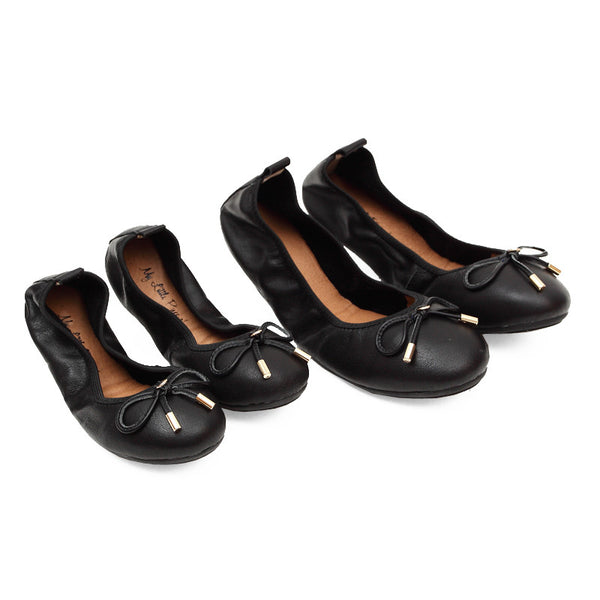 Mum & Me FAITH Black Leather Round Toe Ballet Flats