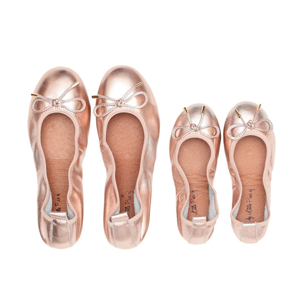 Mum & Me FAITH Rose Gold Leather Round Toe Ballet Flats