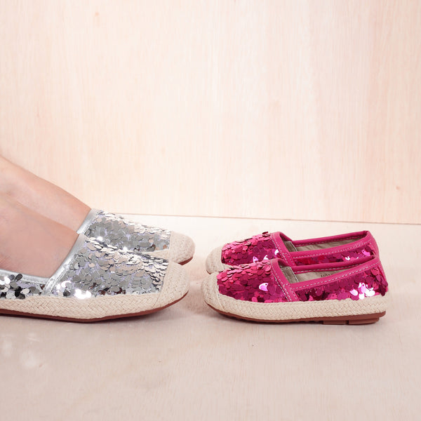 Girls HOPE Fuchsia Leather Espadrille Flats