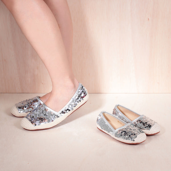 Mum & Me HOPE Silver Leather Espadrille Flats