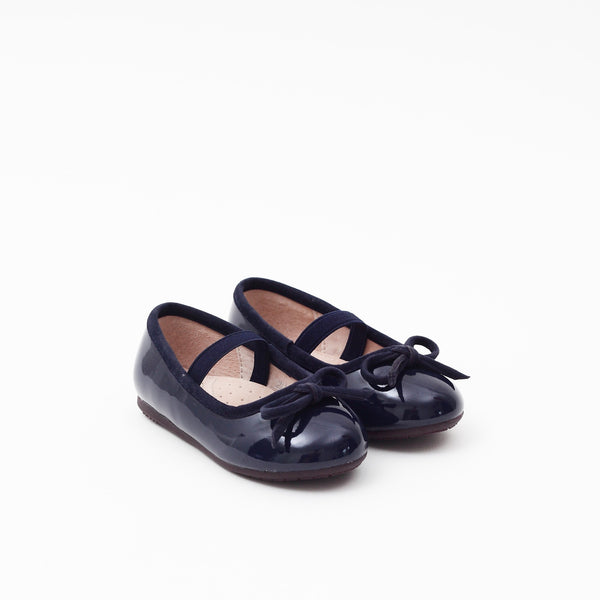 Girls DREAM Leather Lined Mary Jane Flats - Navy