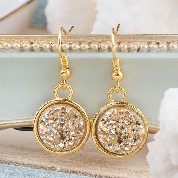 Handmade Gemstone Drop Earrings - Light Gold