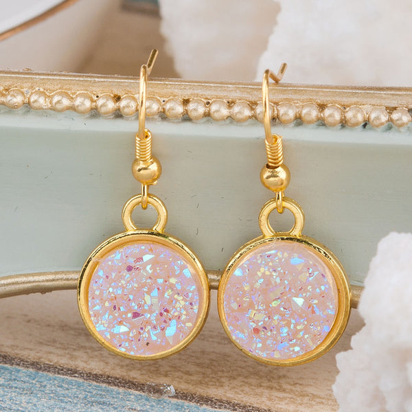Handmade Gemstone Drop Earrings - Light Pink