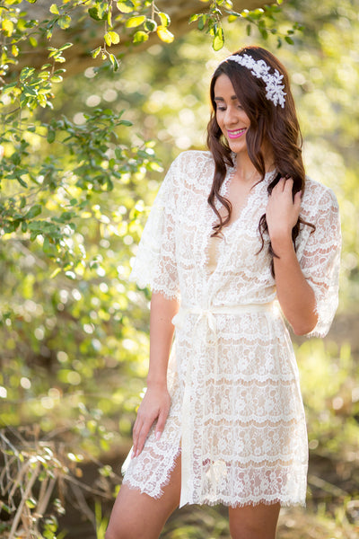 Ivory Lace Bridal Robe - LR101 [Best Seller]