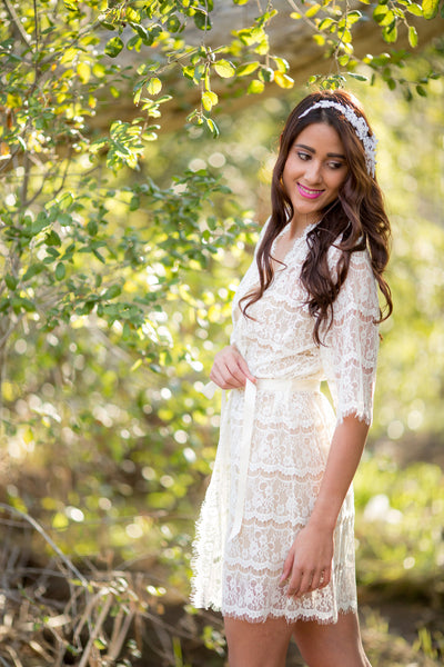 Ivory Lace Bridal Robe <br> LR101