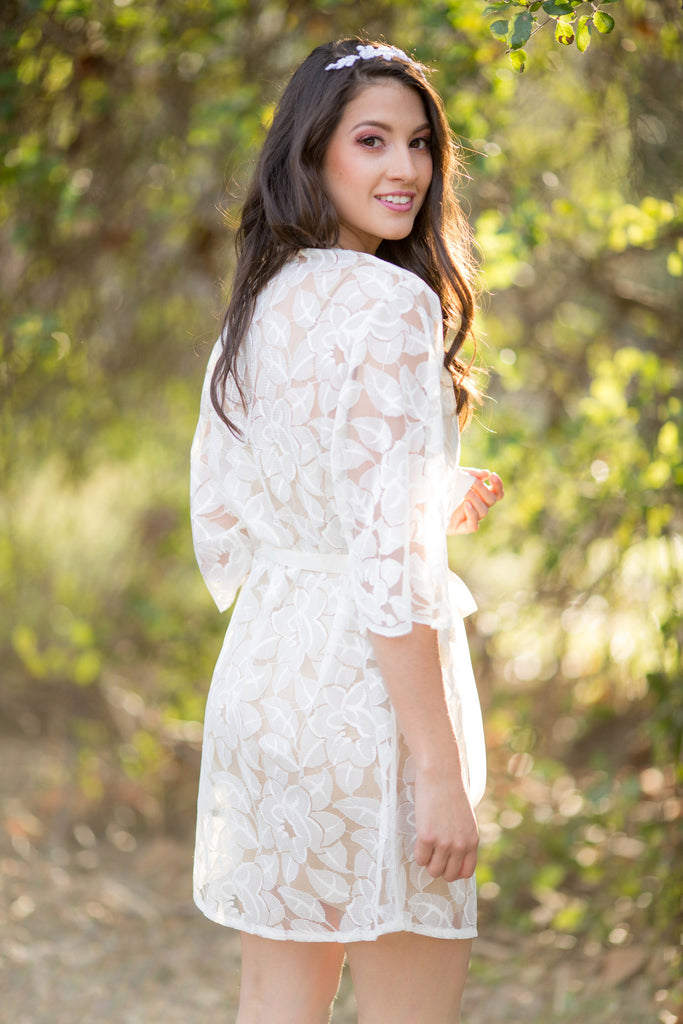 Kelsey <br> Ivory Lace Bridal Robe