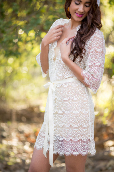 Tiana <br> Ivory Cotton Lace Bridal Robe