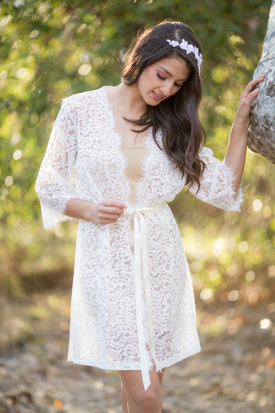 Winnie <br> Ivory French Chantilly Lace Bridal Robe
