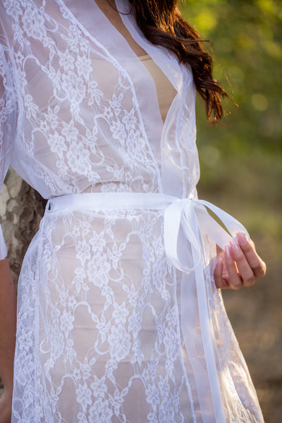 White Bridal Lace Robe - LR104