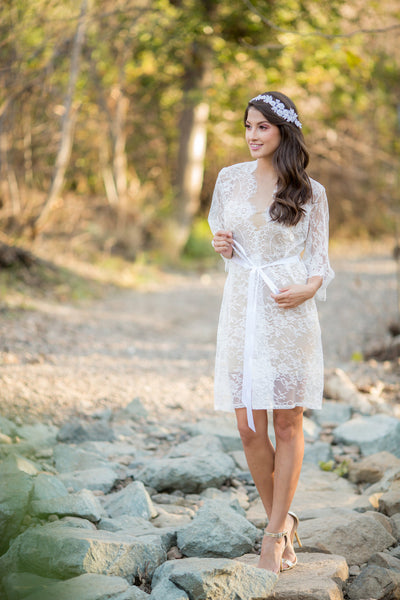 White French Chantilly Lace Bridal Robe - LR105