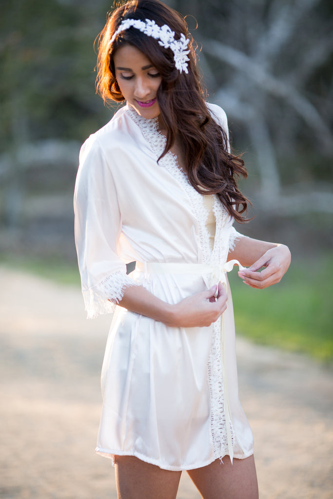 Camden <br> Ivory Satin Lace Robe with Eyelash Lace Trim