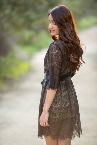 Black Eyelash Lace Robe <br> LR113
