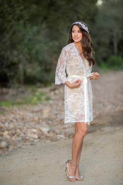 White French Chantilly Lace Bridal Robe - LR110