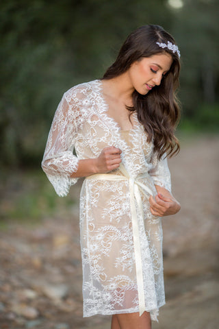 White French Chantilly Lace Bridal Robe <br> LR110