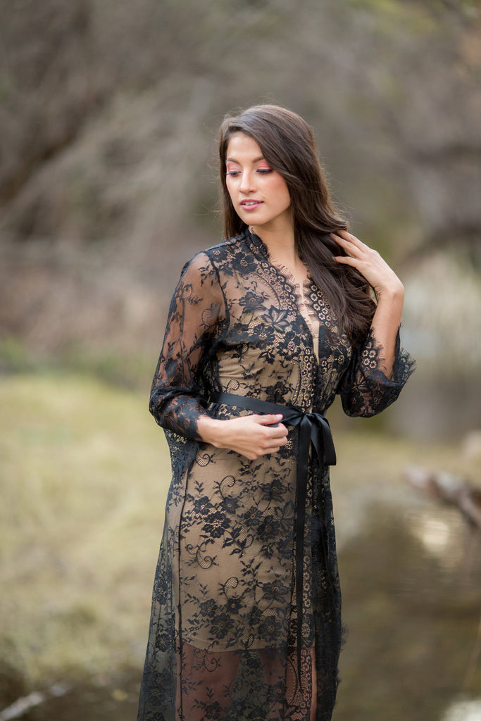 6a39ef9fea Elizabeth in Black Extra Long Lace Bridal Robe – Iselle Design Studio