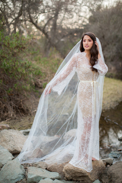 Arina <br> Floor Length Lace Bridal Robe