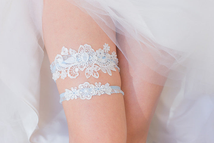 White and Blue Garter Set <br> GS107 <br> [Best Seller]