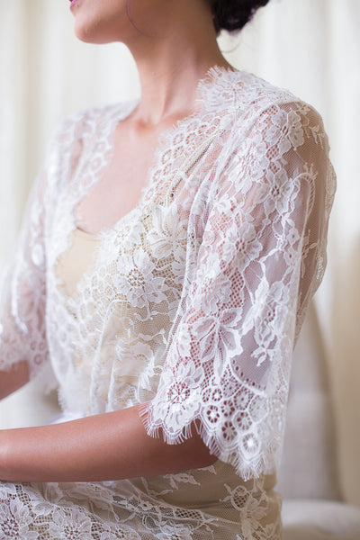 White French Chantilly Lace Bridal Robe <br> LR105